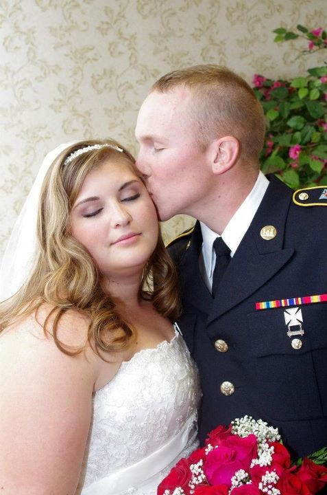 military bride pink sexy makeup uniformed groom