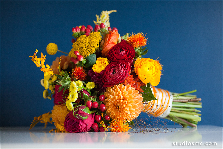 Beautiful Autumn wedding bouquet orange yellow