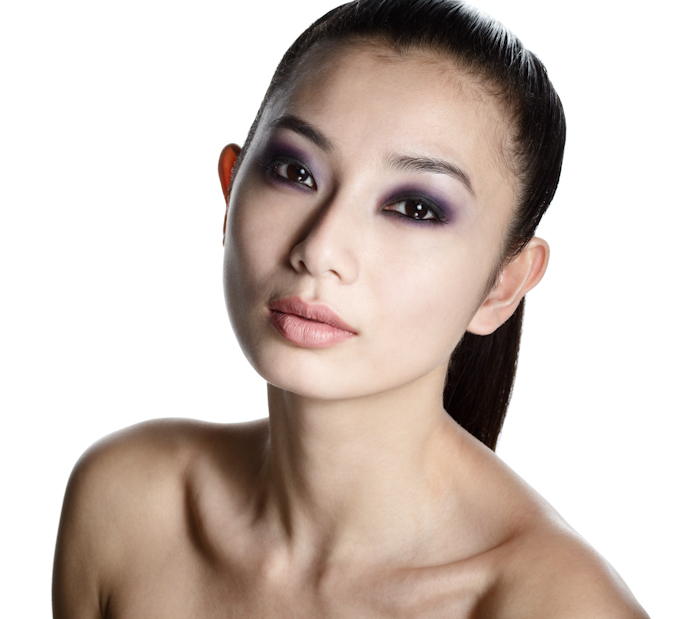 asian model dark smoky purple eye makeup
