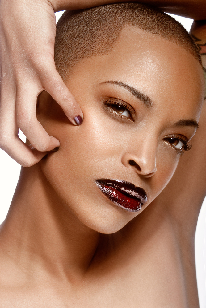 African-American model with vampy dark glossy lips