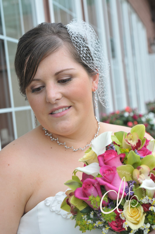 Close-up of subtle bridal airbrush makeup