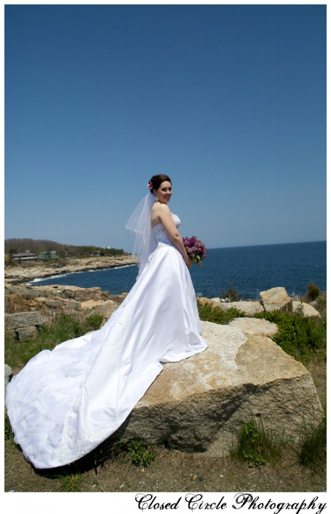 Bride with full train by the seashore Rockport MA