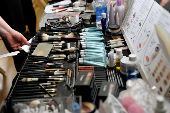 Backstage makeup station at New York Fashion Week