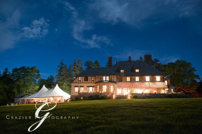 Wedding reception at the Winthrop Estate in Lenox MA at night