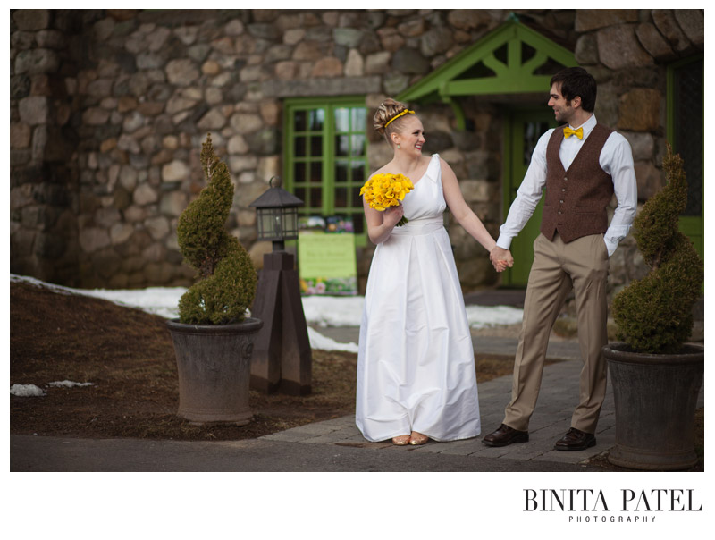 Bride & groom holding hands at the Willowdale Estate