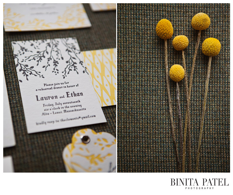 Yellow and black wedding colors letterpress billy balls