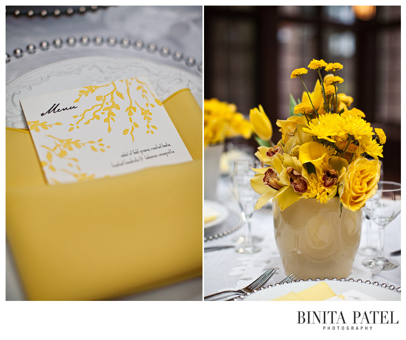 Wedding color theme yellow flowers letterpress