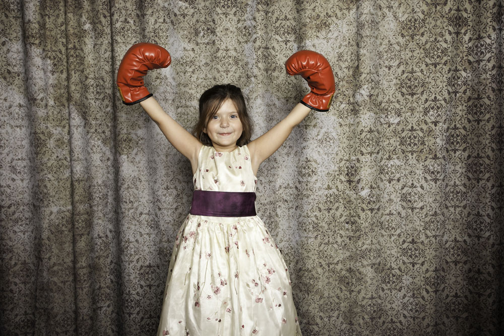 little girl boxing