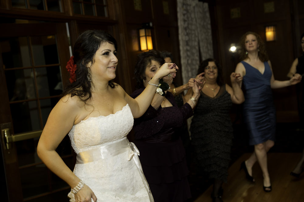 Greek dancing at wedding reception