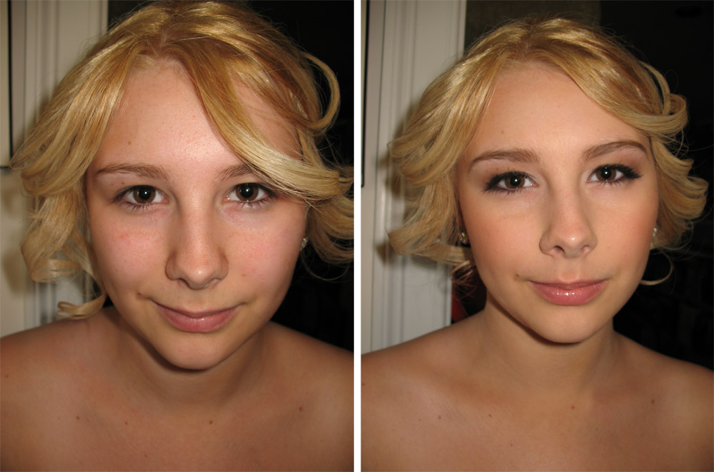 before and after airbrush prom makeup natural gold tones