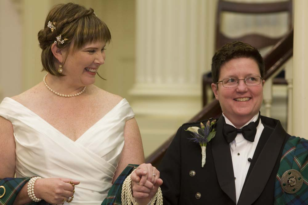 lesbian bride and groom celtic handfasting ceremony