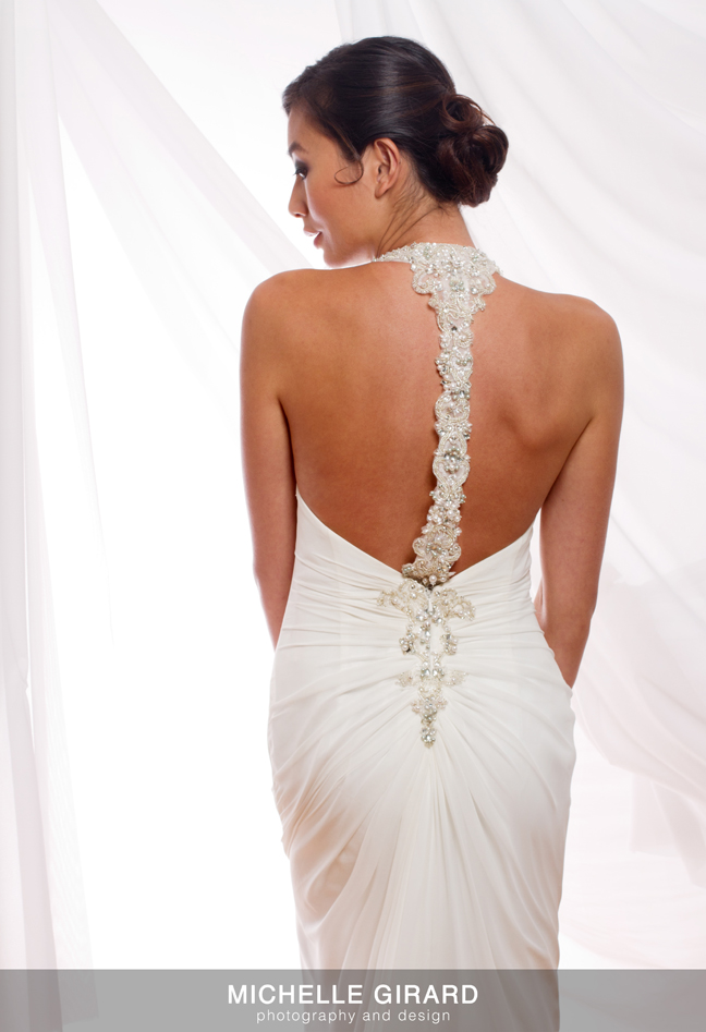Asian bride with bejeweled racer back wedding gown Bancroft Bridals