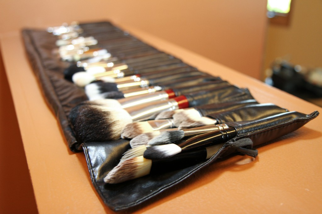 makeup brushes in a brush roll