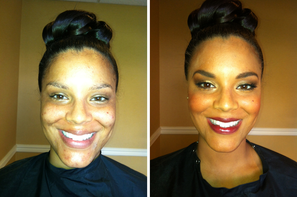 before and after wedding makeup african american bride with smoky eyes and berry lips
