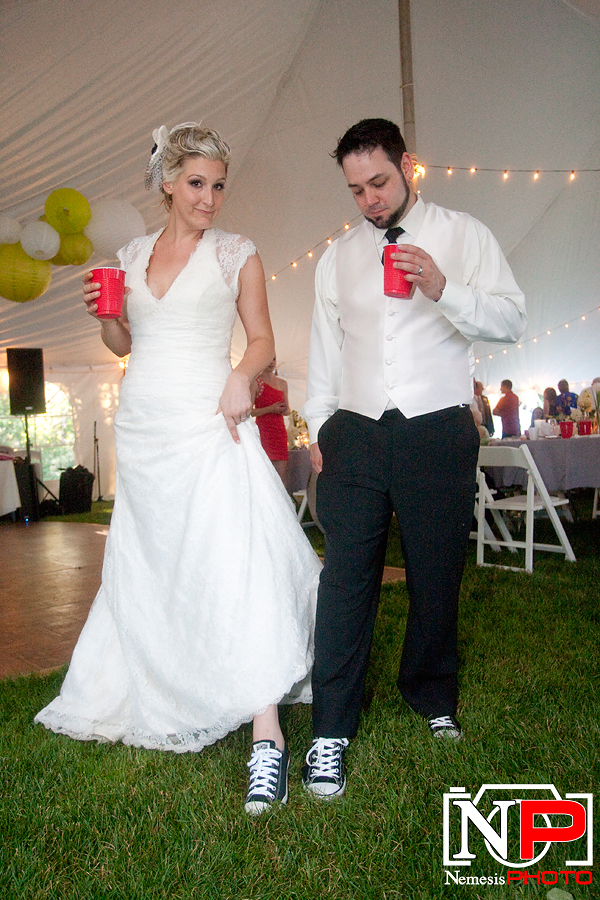 bride and groom wearing Chucks