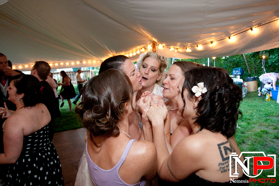 punk rock bride partying with her maids