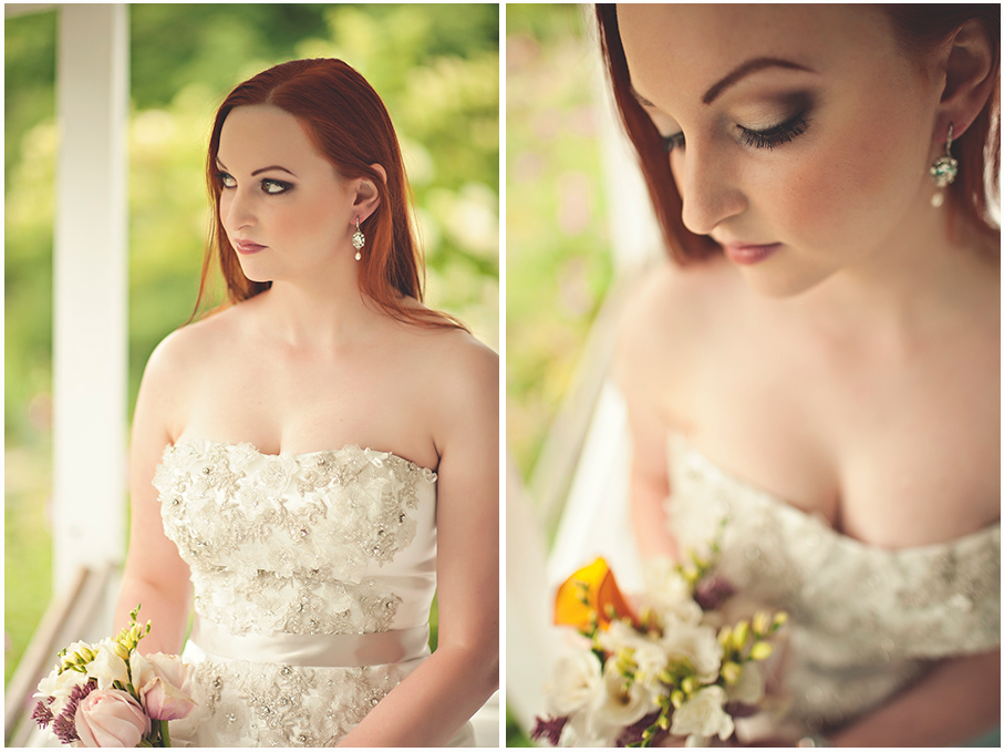 bride with long red hair and smoky eyes