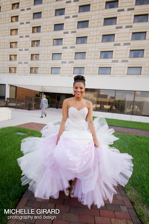 afroam bride in blush pink wedding dress at the Springfield Marriott