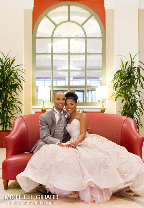 afro-american bride and groom at the Springfield Marriott