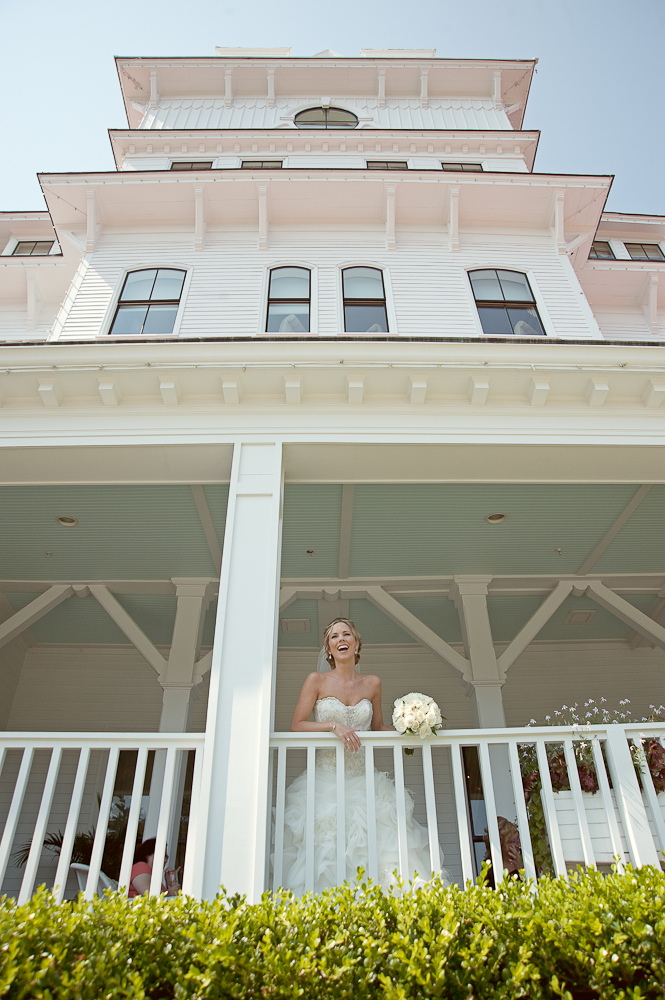 Bride on the balcony at Wentworth by the Sea NH