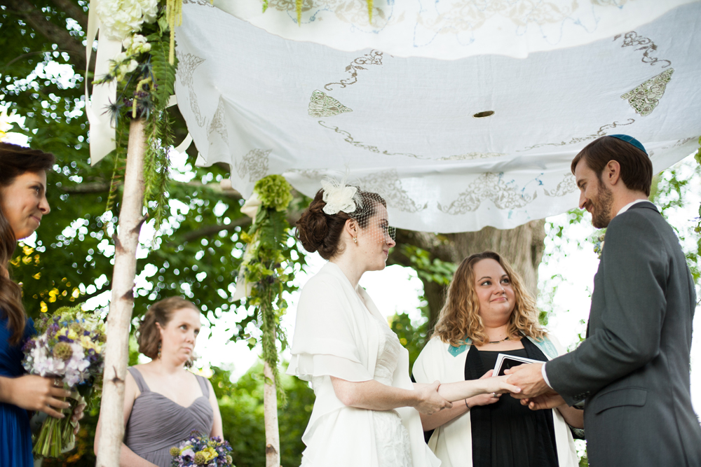 bride and groom under the Chuppah in the Berkshires of Western MA