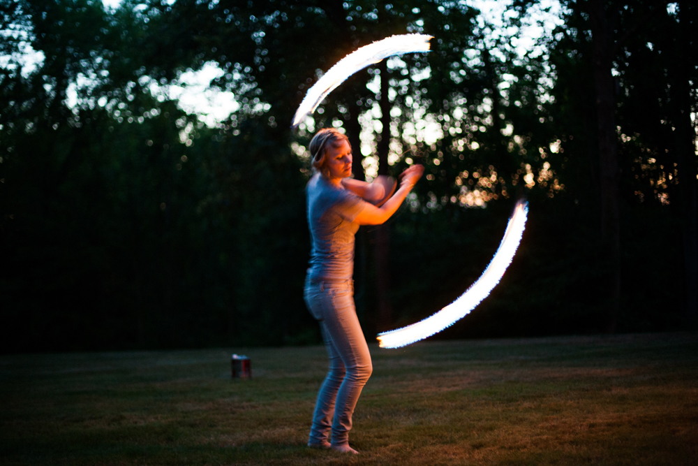fire dancer at a wedding in the Berkshires