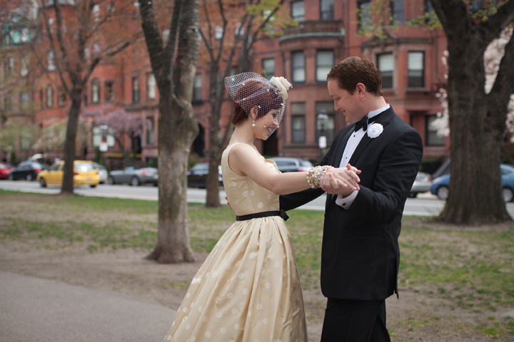 Bride and groom first look on Commonwealth Avenue in Boston