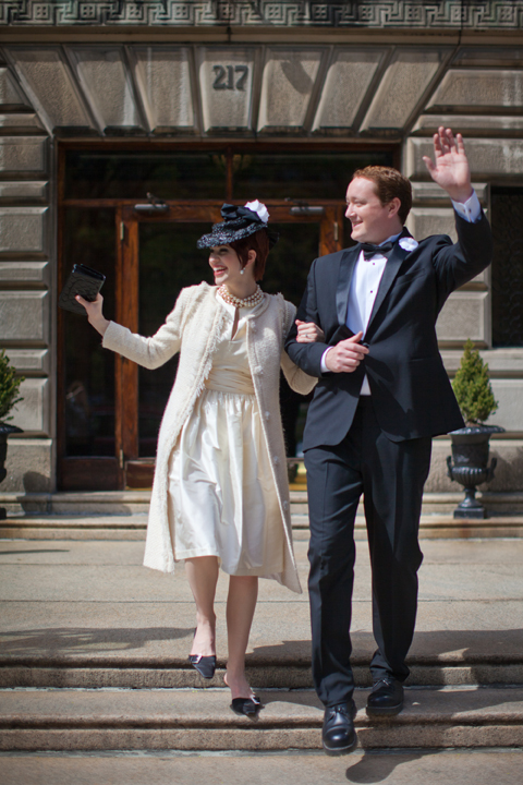 Elegant bride and groom departing the Algonquin Club in Boston MA