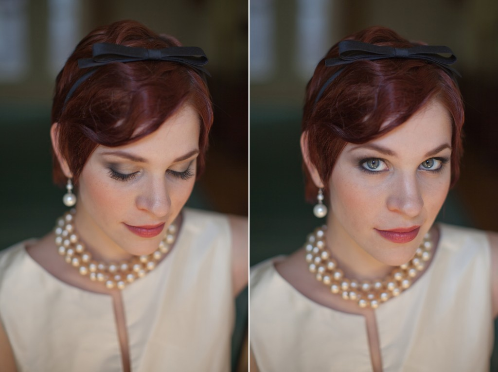 Elegant redheaded bride with 1920's hair, pearls, smoky eyes and plum lips