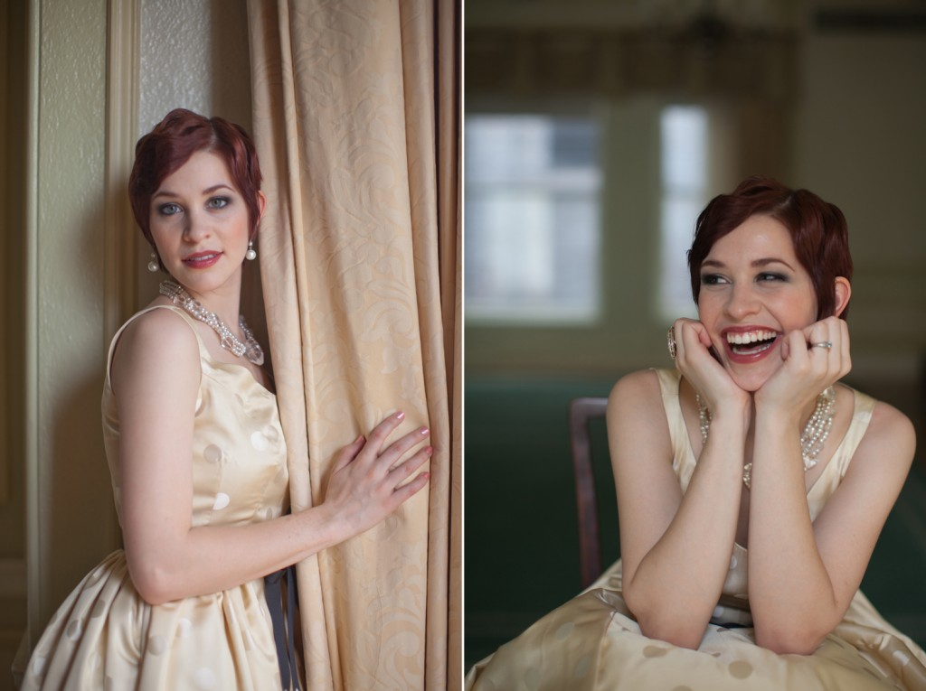 1920's inspired redheaded bride with champagne polka dot dress