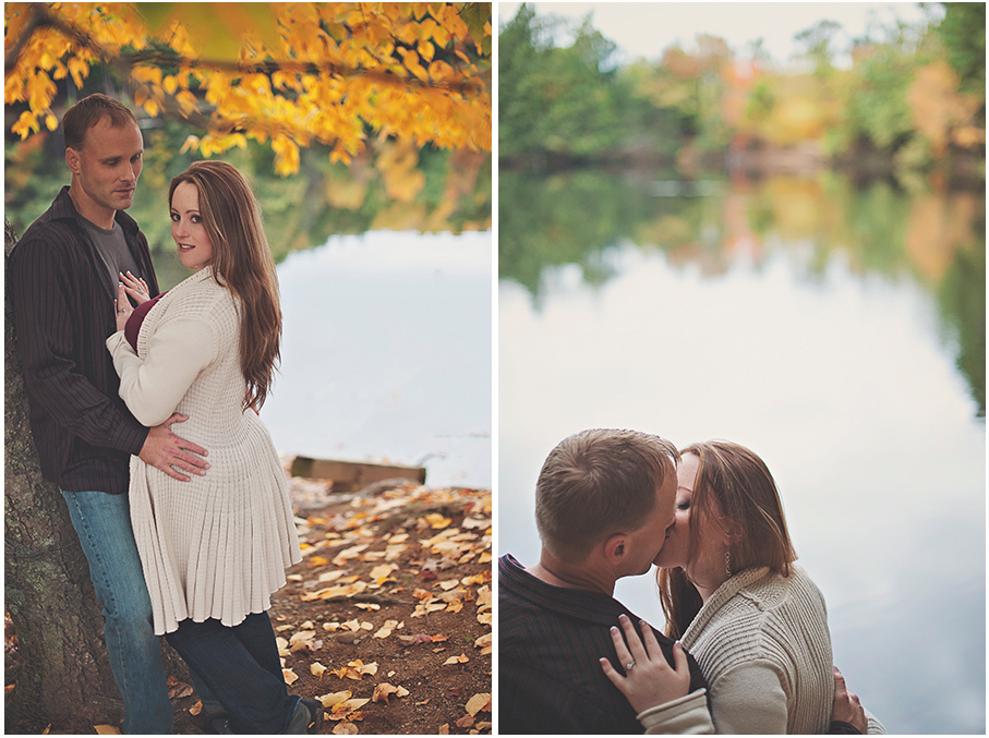 Couple kissing in front of the autumn leaves at Puffers Pond in Amherst MA