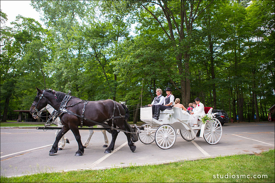 Two brides in a carriage at Look Park in Florence MA