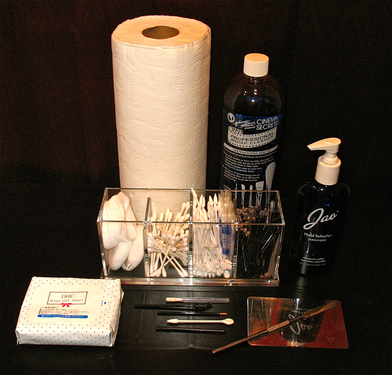 Products and tools used by makeup artists for sanitary makeup application.