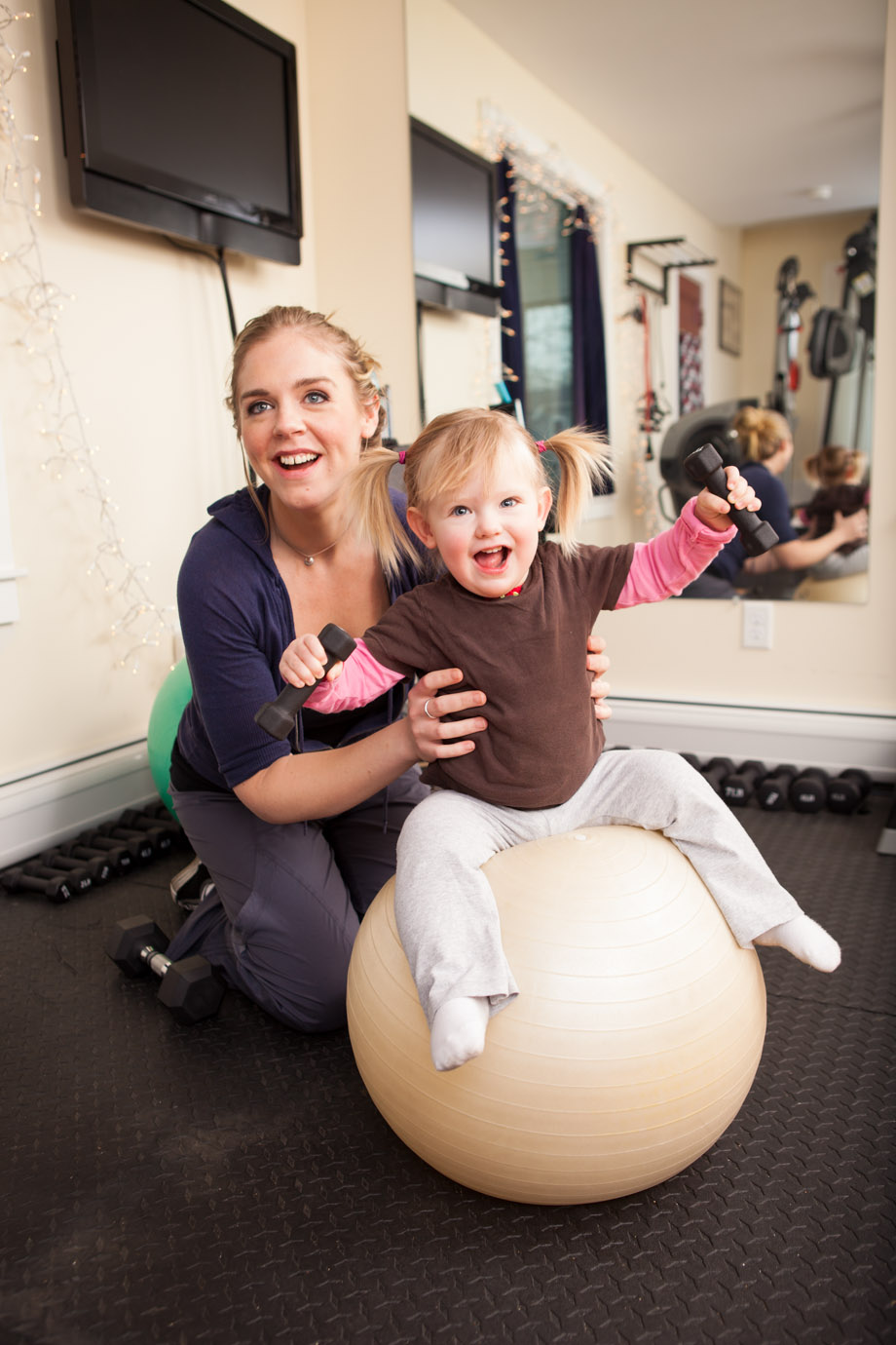 Mom and daughter lifestyle fitness photo
