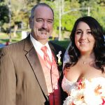 bride and father outdoors fall colors orange