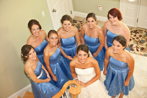 Bride & bridemaids in cerulean blue gowns