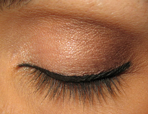 close-up of model with black eye liner