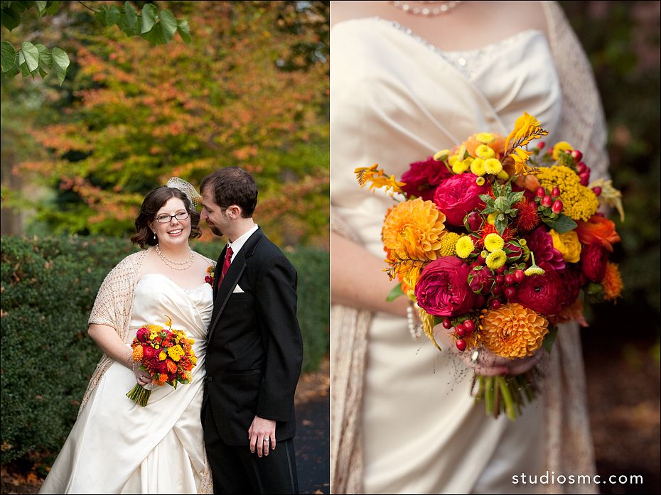 Bride and groom outdoors displaying Autumn wedding bouquet