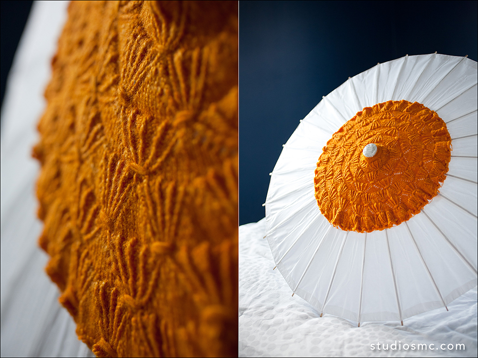 hand embroidered orange bridal parasol