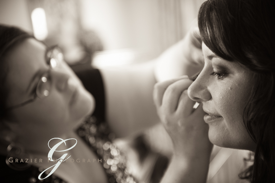 Lenox MA bride getting her makeup done
