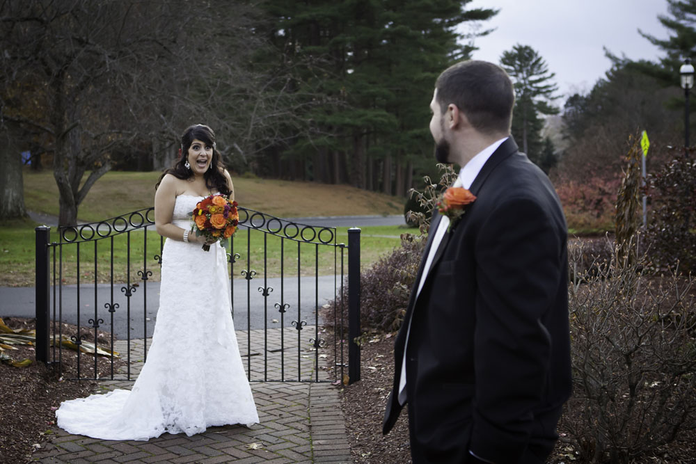 bride reacting to appearance of groom