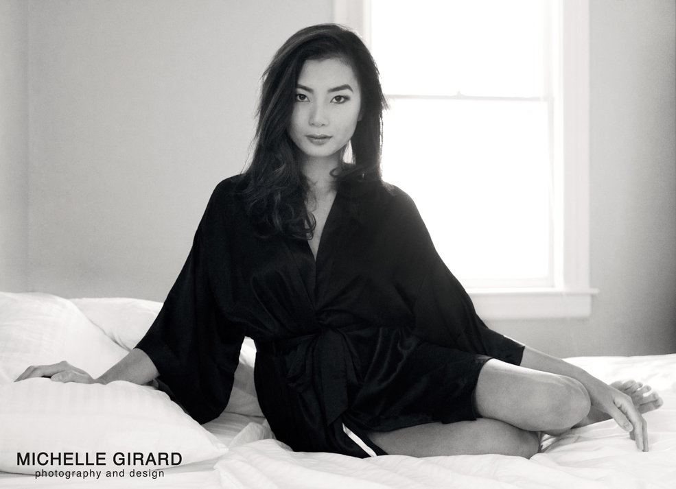 black & white asian boudoir