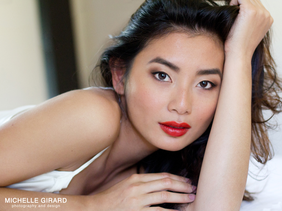 asian boudoir bright red orange lips smoky eyes