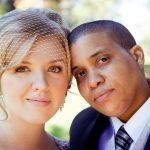 butch-femme wedding lesbian brides purple dress birdcage veil