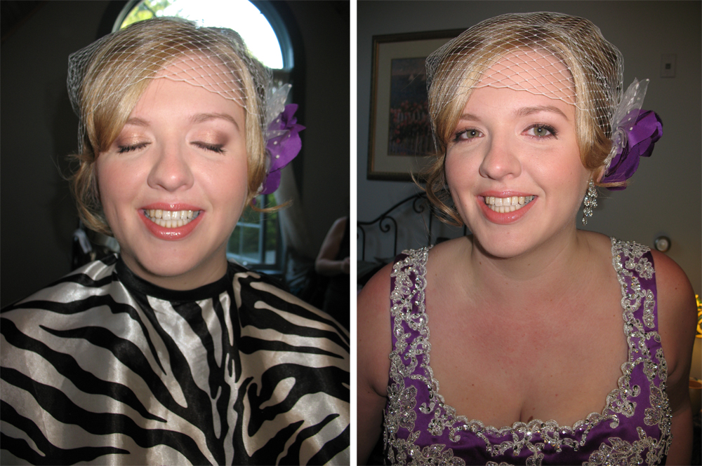 bridal makeover eyes open and closed