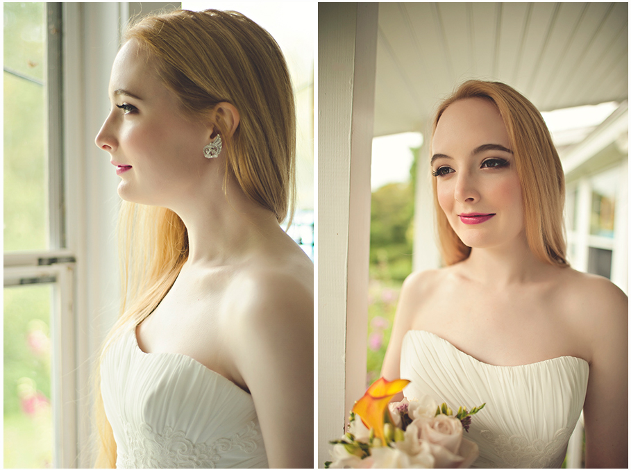 bride with long blonde hair and bright pink lips