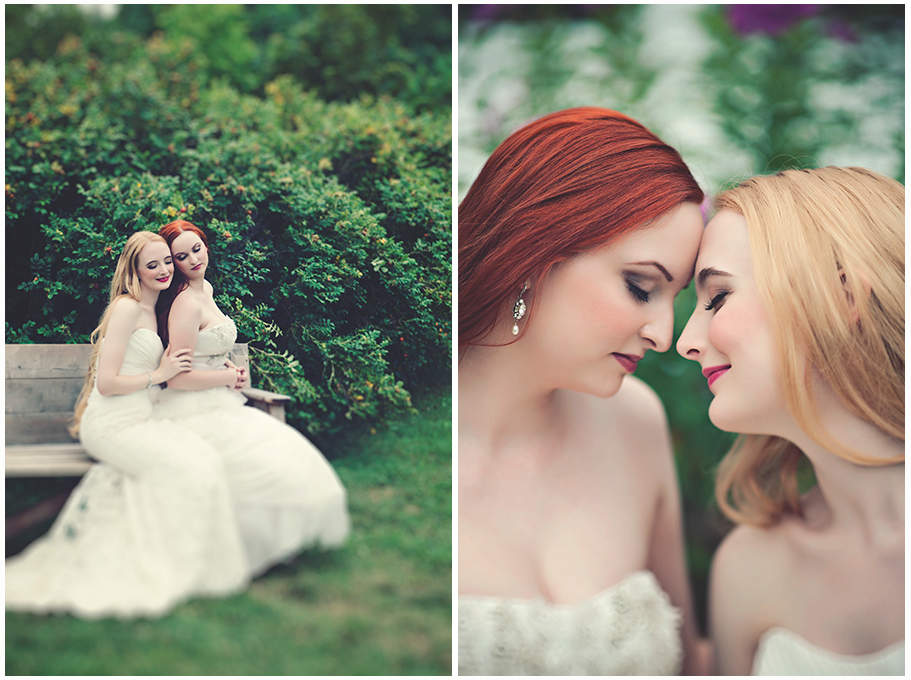 two brides snuggling on their wedding day at the Dream Away Lodge