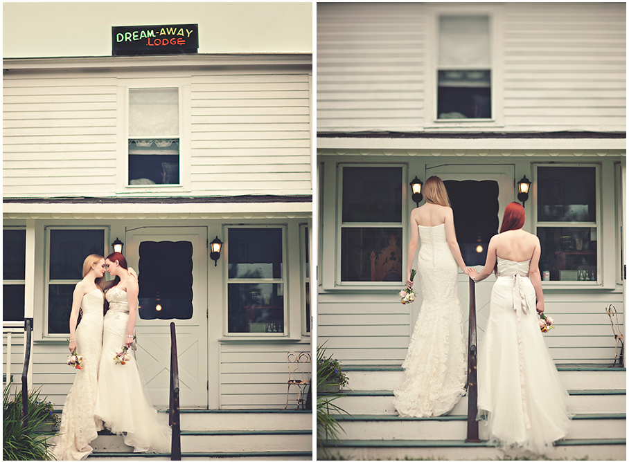 two brides at the Dream Away Lodge in the Berkshires MA