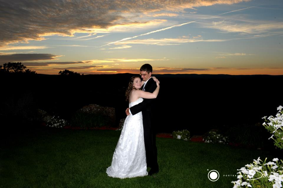 bride and groom dance at sunset in holyoke ma