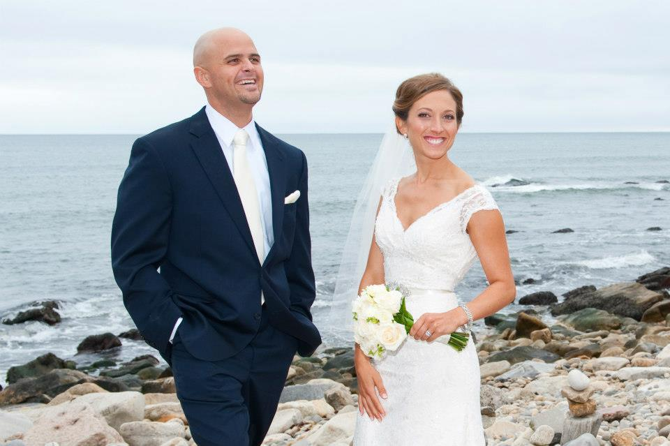 Bride Elise and her groom on the beach in Narragansett RI